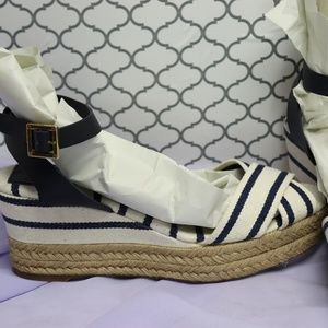 Tori Burch Navy and white Espadrilles wedges